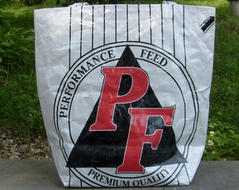 Recycled White Livestock Feed Sack Market Bag Tote or Purse