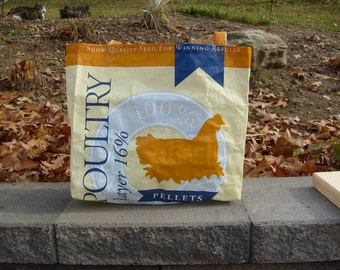 Recycled Feed Sack Chicken Food Hen Reusable Market Bag Tote Purse