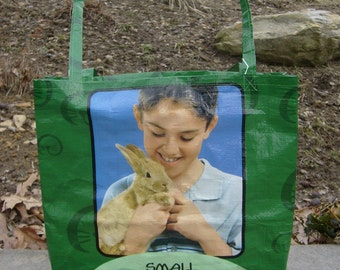 Recycled Feed Sack Green Rabbit Food Bag Market Tote or Purse