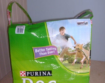 Messenger Bag Recycled Feed Sack Dog Food Golden Retriever