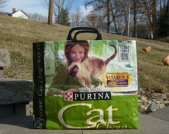 Recycled  Feed Sack Green Cat Food Purse, Market Bag, or Tote with Short Plastic Handles