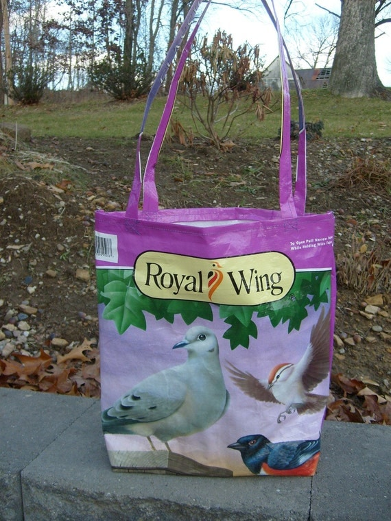 Recycled Feed Sack  Purple Bird Seed Market Bag, Tote, or Purse