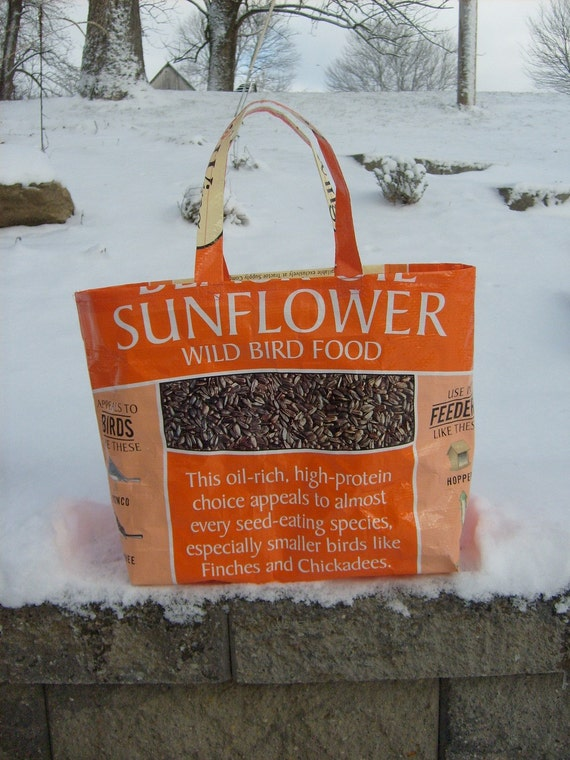 Recycled Upcycled Feed Sack Bird Seed Sunflower Market Bag Purse or Tote