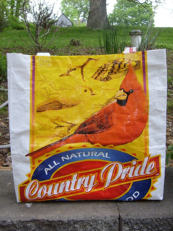 Recycled Feed Sack Cardinal Bird Food Market Bag, Tote, or Purse