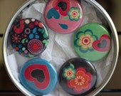 Birds and Flowers 1 inch Magnet Set of 5 M0010
