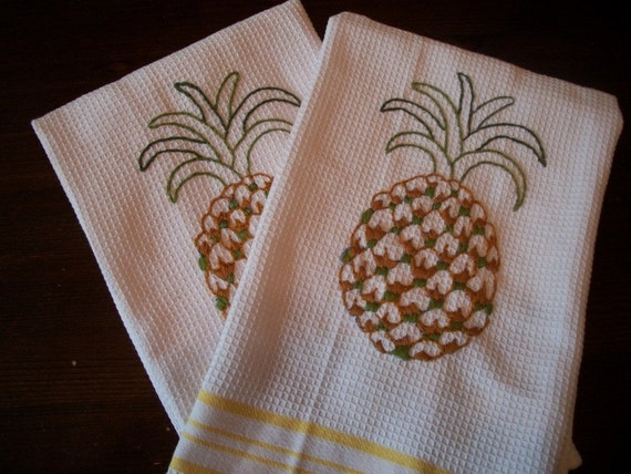 Two Hand Embroidered Pineapple Dish Towels