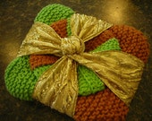 Cotton Dish Cloths in Green with Scrubby
