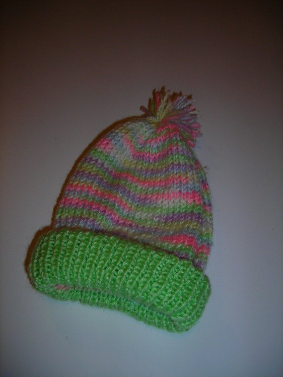 Newborn to 3 Months Knitted  Hat with Pom Pom for Boy or Girl