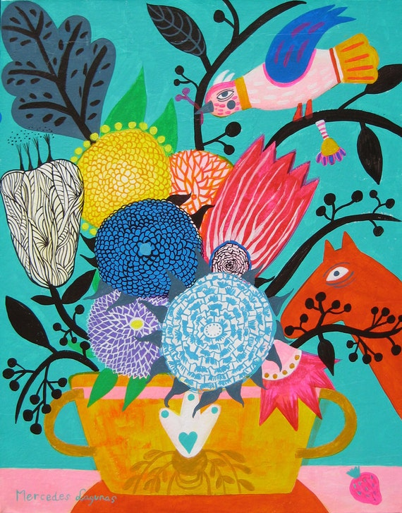 15,7 x 16,9 inches. Original Art painting flowers. Bird, bohemian, folk , naive, primitive. By Mercedes Lagunas.