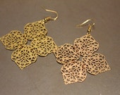 Moroccan Inspired Gold Chandelier Earrings - Four Pedal Charms
