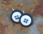 Black and White Button Earrings