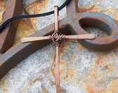Forged Copper Cross on Black Suede Cord