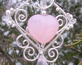 Filigree earrings with Pink Chalcedony Hearts and Rose Quartz Drops, Sterling Silver