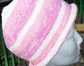 Pink and White Striped Cotton Womens Rolled Knitted Stocking Hat
