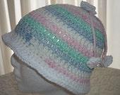 Pastel Striped Girls Crocheted Hat with Flower Tassels Child M