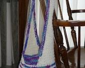 Ivory Cotton Market Hobo Hip Beach Bag with Purple Stripe
