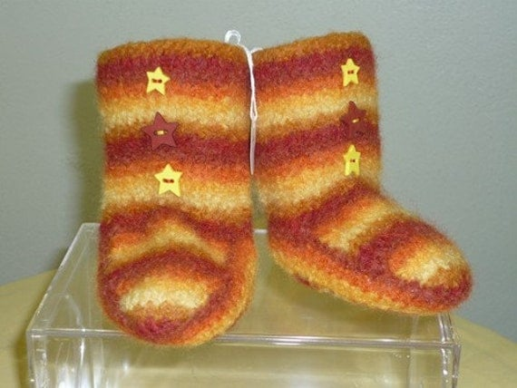 High Top Wool Felted Striped Sunburst Baby Booties 12-18 Months