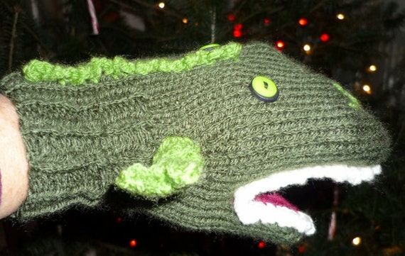 T Rex  Dinosaur Knitted Hand Puppet Child Size