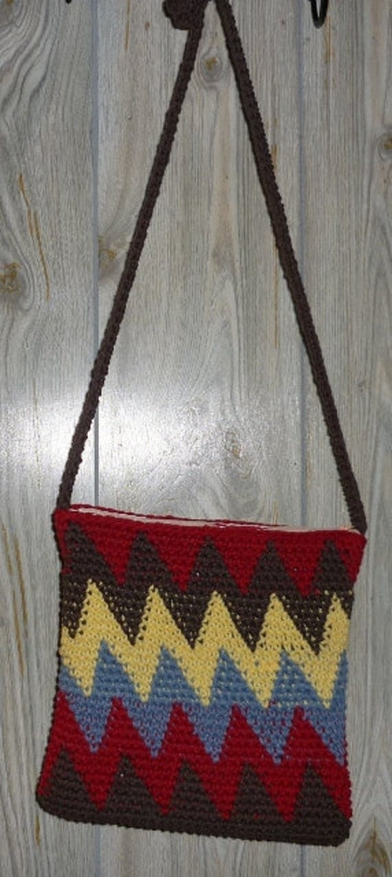 Tribal Cotton Crocheted Shoulder Bag with Cotton Lining and Zipper