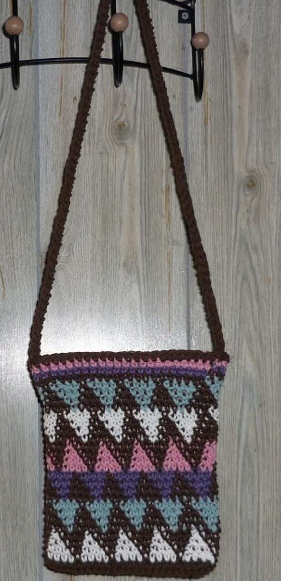 Tribal Cotton Crocheted Shoulder Bag with Battik Lining and Zipper