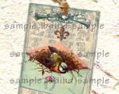 Vintage French Style Bird in Blue Envelope Tag, 6 tags