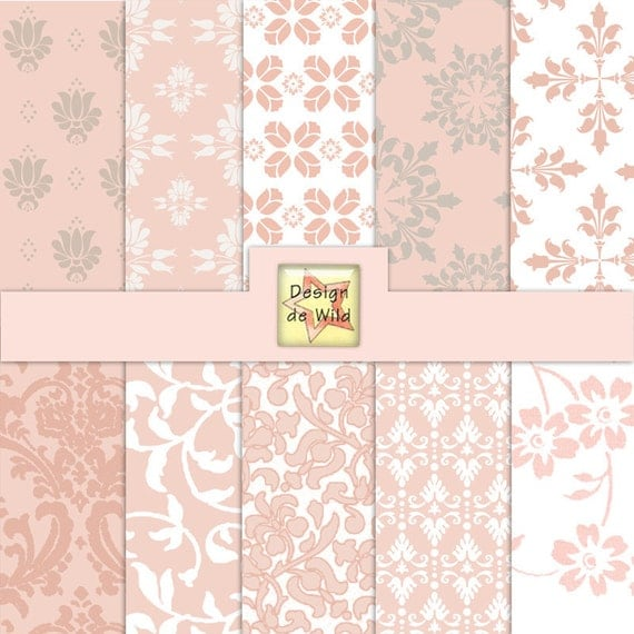 INSTANT DOWNLOAD Soft Pink Scrapbook Paper 12x12, for photo album, baby photos, wedding photos