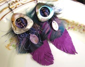 Drama Queen Tribal Feather Purple Leather and Bead earrings