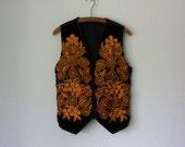 Embroidered Velvet Vest ... Vintage Gold Harvest Floral Embroidery Waistcoat ... Large