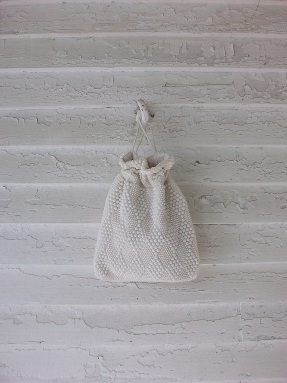 Vintage Beaded Purse ... 1960's White Wristlet Pouch