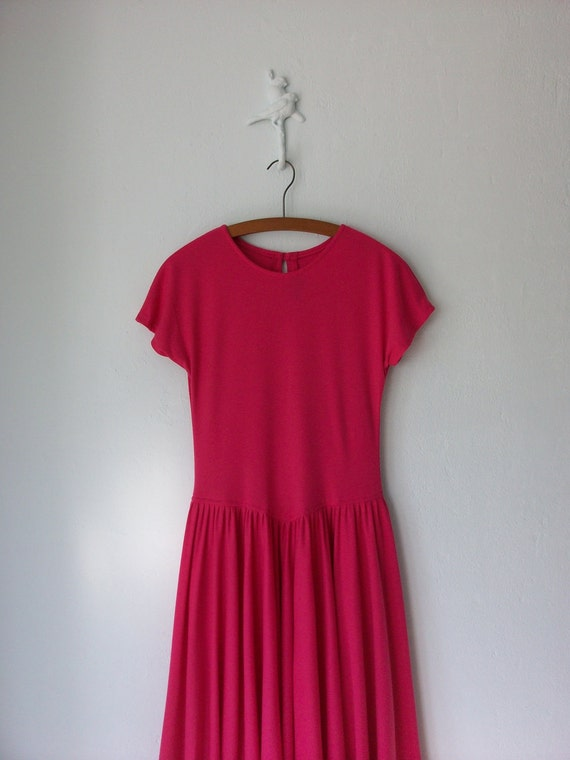 Jersey Knit Dress ... Vintage 90s Hot Pink Summer Frock ... Large
