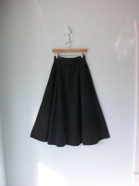 Stonewash Denim Maxi Skirt ... Black Gray Jean Full Circle ... Small