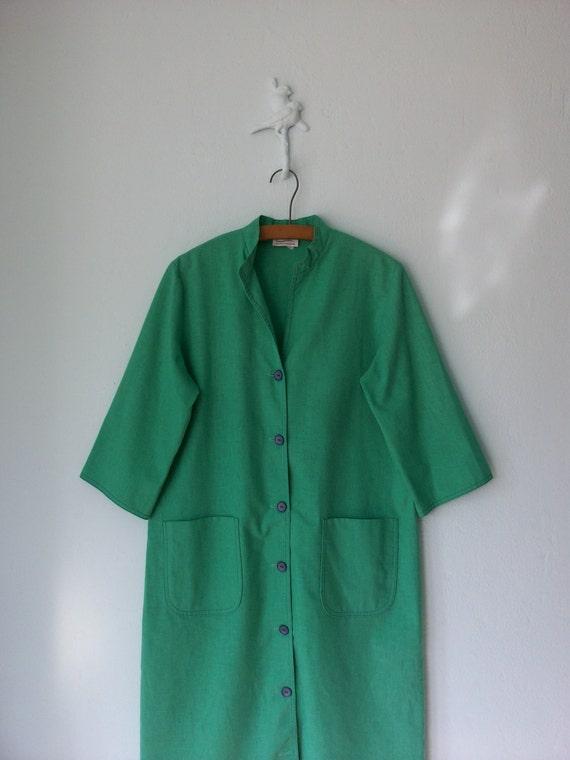 Green Tunic Dress ... Vintage 60s Linen Dress ... Medium / Large