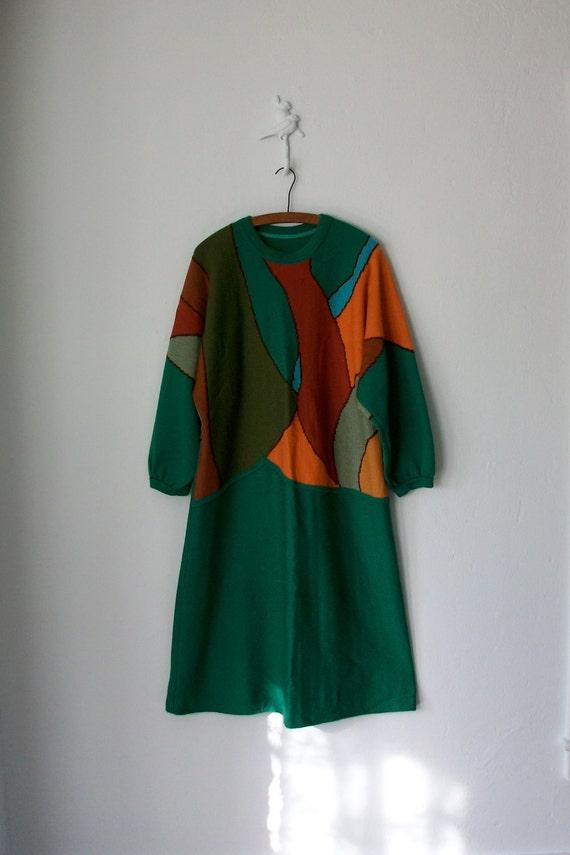 80's Sweater Dress ... Vintage 1980's Avant Garde Color Block Dress ... Large