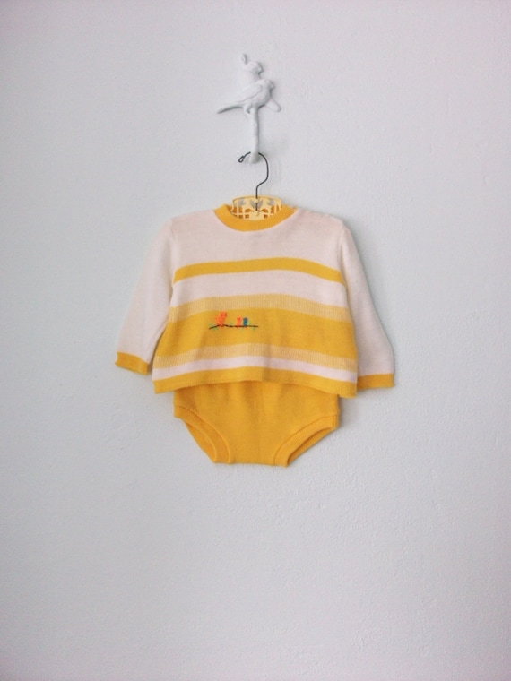 Baby Knit Sweater Bloomer Set ... Sunny Yellow Embroidered Birds ... 12 18 months
