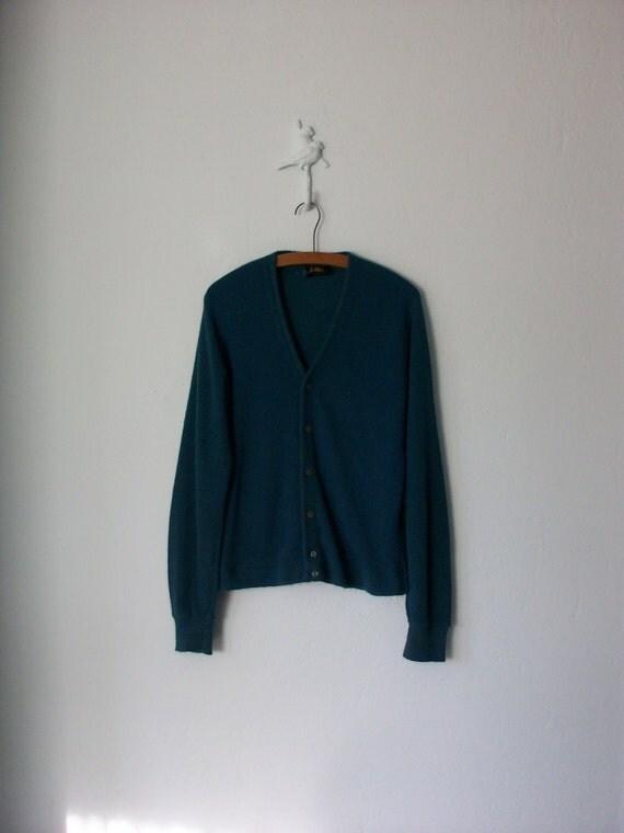 1960's Cardigan Sweater ... Blue Green Button-Up Knit Boyfriend Cardy ... Medium / Large