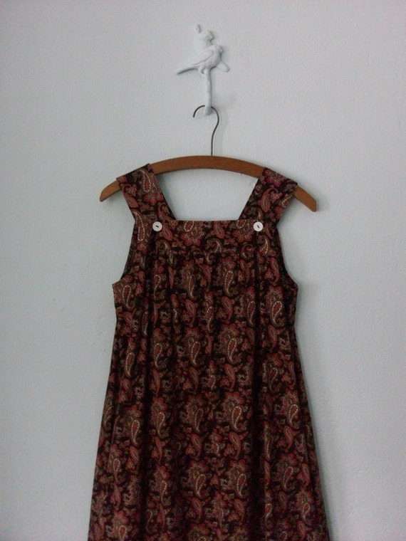 1970's Jumper Dress ... Brown Paisley Print Frock ... Medium