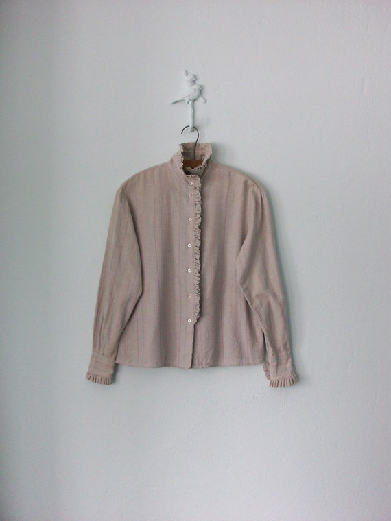 Ruffle Blouse ... Vintage 80s Pastel Striped Shirt ... Medium