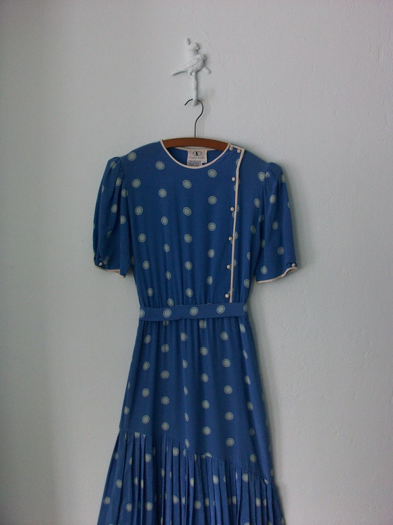 Blue Silk Dress ... Asymmetric Pleated Bubble Print ... Medium / Large