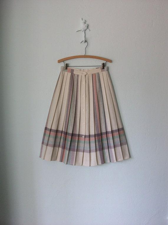 Pastel Pleated Skirt // Vintage 70s Collegiate Pleats Midi // Medium