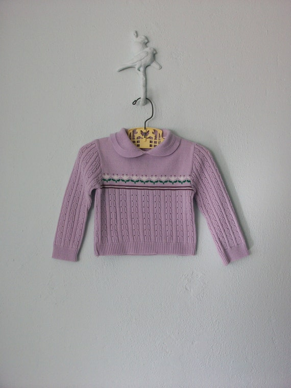 Vintage Baby Sweater ... 1970's Lavender Knit Flowers ... 12 18 months