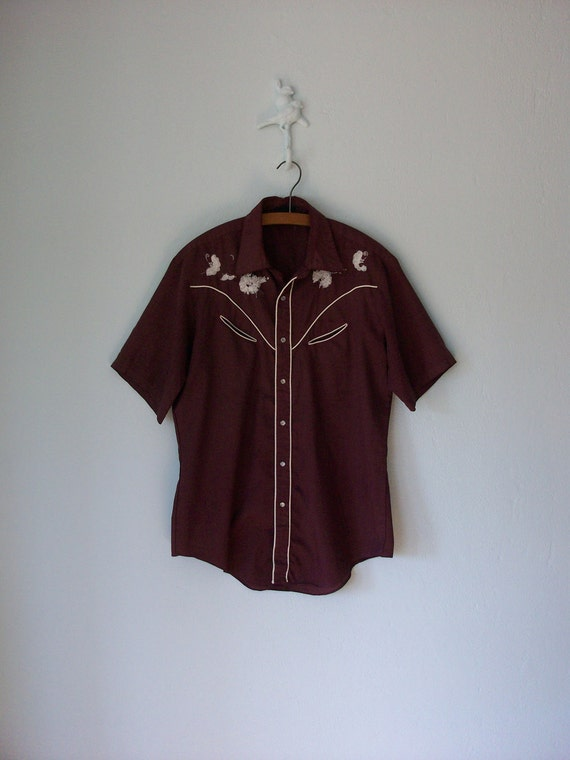 Embroidered Western Shirt ... Maroon Floral Yoke Pearl Snaps ... Large