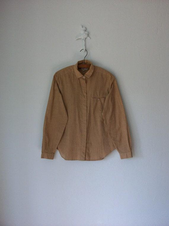 Harvest Plaid Blouse // Vintage 80s Metallic Gold Oxford Shirt // Large
