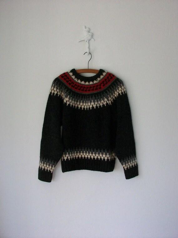 90's Nordic Sweater ... Geometric Pattern Yoke Pullover ... Medium