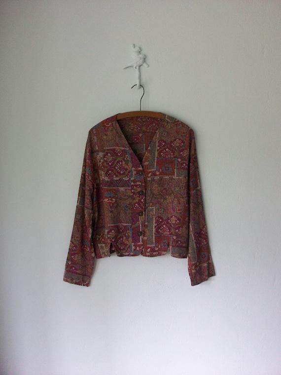 Cropped Gypsy Blouse ... 90's V-neck Shirt ... Medium / Large