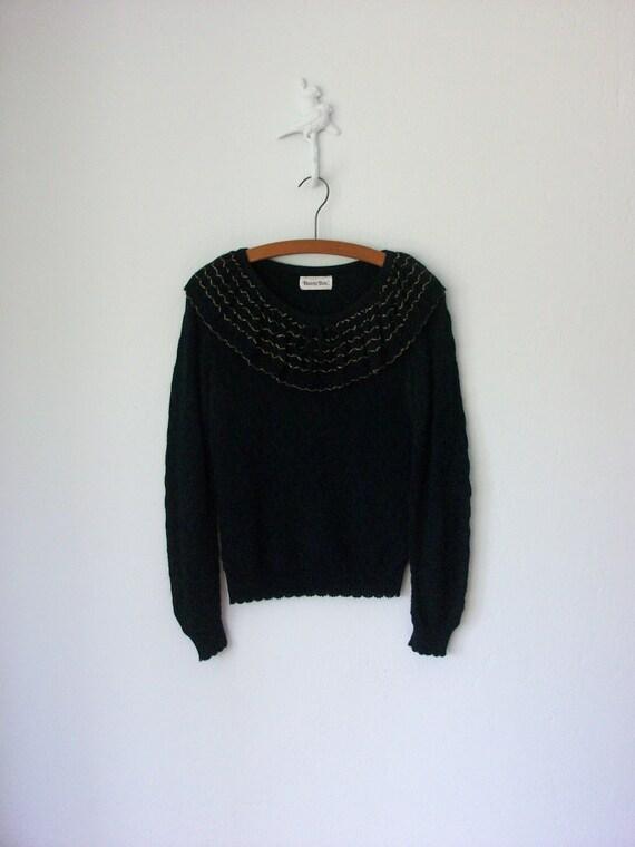 Vintage Poet Shirt ... Black 70's Ruffle Collar Pointelle Knit Sweater Top ... Medium / Large