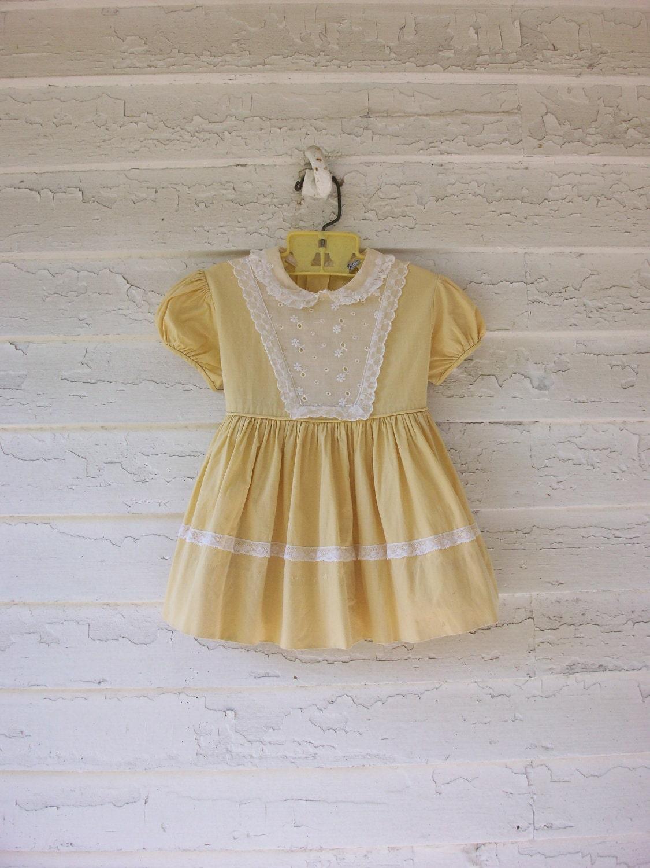Vintage Toddler Dress ... 1960&-39-s Eyelet Lace Bib by SparvVintage
