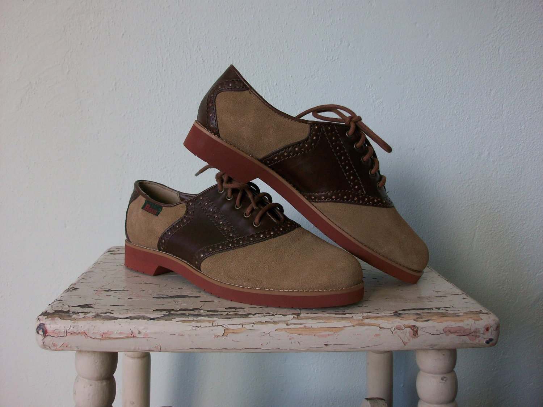 Vintage Saddle Shoes ... 1980's Burgundy Tan Suede Oxfords