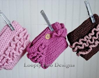 Newborn Photo Prop, Ruffled Crochet Diaper Cover, Baby Girl, Handmade, Newborn - Sizes NEWBORN TO 12 MONTHS - more color options