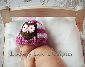 Crochet Hat with Felt Owl Hat, Newborn Photo Prop, Baby Girl, Baby Boy, Handmade -Sizes NEWBORN TO 12 MONTHS -more color options