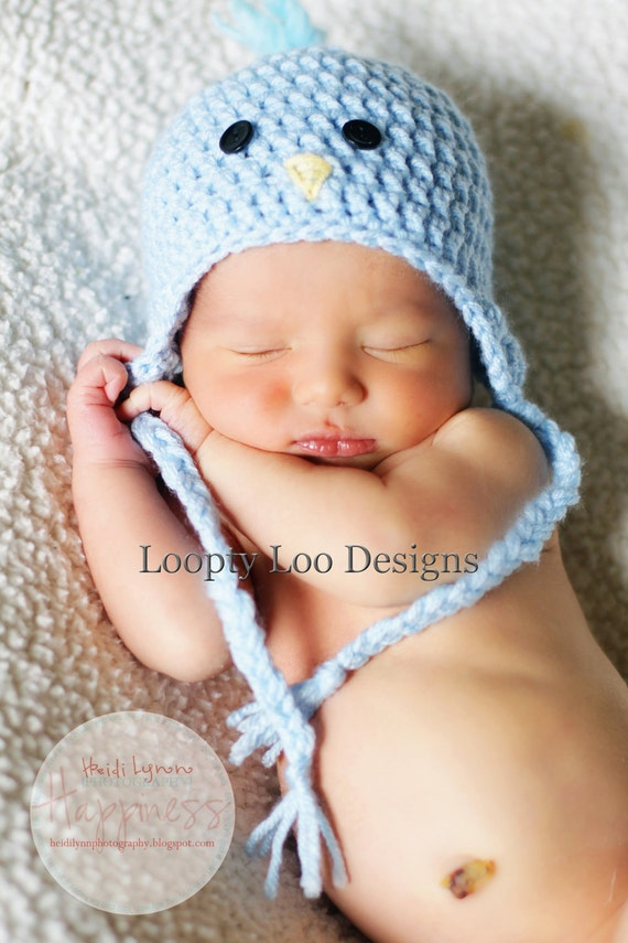 Free Crochet Pattern Toddler Earflap Hat : Baby Boy Hat Crochet Blue Bird Earflap Hat by LooptyLooDesigns